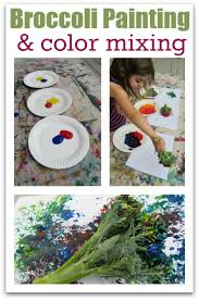 broccoli painting and color mixing no time for flash cards