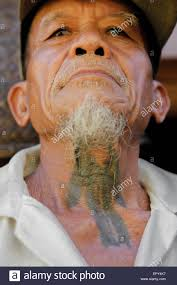 old men of iban shows traditional tattoos on his neck stock photo
