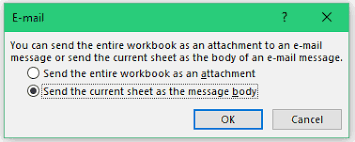 how to send a single excel worksheet as email attachment