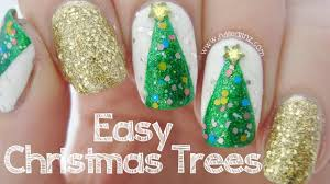 easy christmas tree nail art youtube