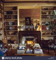 shelves on either side of fireplace in french country living room