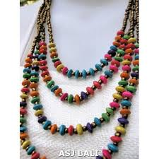 color bead necklace images Multi color wooden bead necklaces four strands multi color jpg