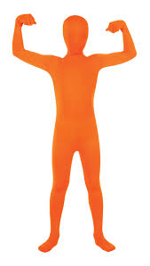 domo halloween costume childs orange 2nd skin suit morphsuit