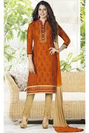style cotton jacquard salwar kameez in dark orange color