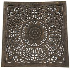 Home Decor Bali Elegant Wood Carved Wall Plaque Wood Carved Floral Wall Art Bali