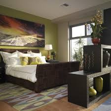 Bedroom With Accent Wall by Taupe Accent Wall Bedroom Eclectic With Green Wall Woven Bed White