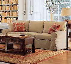 classic living room style with brown soft pottery barn living