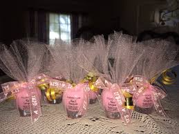 cute pink nail polish party favors wrapped in pink tulle with