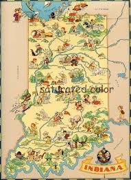 Maps Of Indiana Vintage Indiana Original 9 X 13 Antique Picture Map Of Indiana