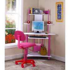 desk chairs cost pink white corner computer kids desk roller