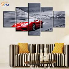 jyj red run car picture spray canvas painting wall art for living