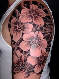 awesome black ink flowers tattoo for men on upper arm tattoos
