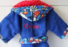 Toddler Terry Cloth Robe Child Robes Boys Superman Man Of Steel Bath Sleepwear Pajamas