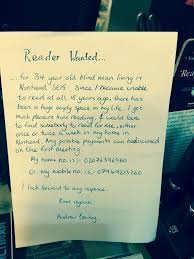 Book Reader For Blind Blind Man Puts Advert In Local Bookshop Asking For People To Read