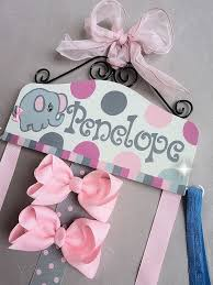 personalized bows hair bow holder personalized with elephant pink and gray
