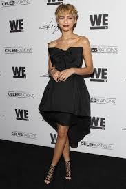 zendaya strapless bow detail celebrity black cocktail dress shoe