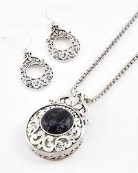 stone silver necklace images Silver tone metal black stone filigree pendant necklace jpg