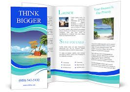 island brochure template open suitcase with a tropical island