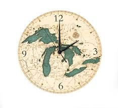 Wood Clock by Custom Wood Charts Of The Great Lakes Real Wood Decorative Clock