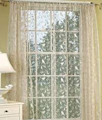 Heirloom Lace Curtains Berries Birds Leaves And Vines Are Silhouetted Against A Simple