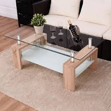 costway rectangular tempered glass coffee table w shelf wood