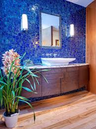 glossy blue tile wall for bathroom ideas photo gallery with small