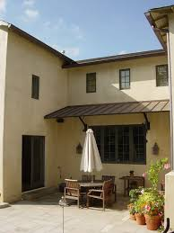 Wall Awning Arched Copper Awning Patio Mediterranean With Stucco Wall