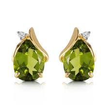 peridot stud earrings 14k solid gold stud earring with diamonds peridots