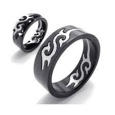 black finger rings images Black titanium steel silver fire flame men finger ring band at jpg