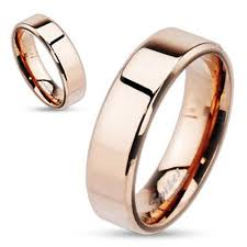 wholesale gold rings images Stainless steel flat rose gold beveled ring wholesale 925express jpg