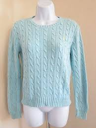light blue cable knit sweater women s ralph lauren 100 cotton light blue cable knit crewneck