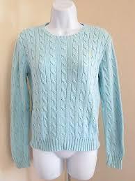 ralph lauren light blue women s ralph lauren 100 cotton light blue cable knit crewneck