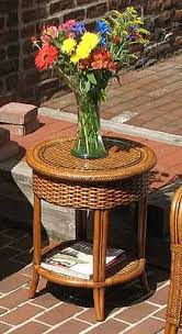 round wicker end table tangiers round wicker end table with glass top
