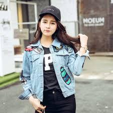 cute jacket pattern trend setter 2017 spring sequins light blue denim jacket for women