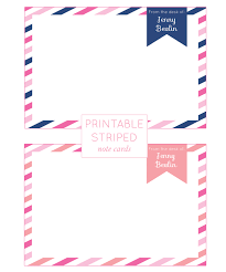 customizable printable striped note cards free printables