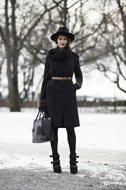 all black black tights winter work blakck coat black coat