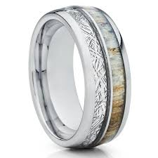 deer antler wedding band deer antler ring meteorite ring deer antler wedding band 8mm