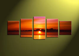 5 piece red ocean sunset canvas photography