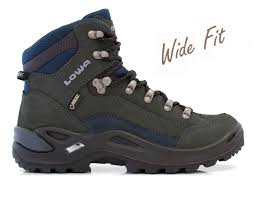 boots uk wide fit lowa renegade gtx mid wide fit walking boot grey navy