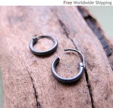 small hoop earrings for cartilage cartilage hoop earring black sterling silver hoops for men