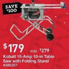 10 In Table Saw Lowe U0027s Black Friday Kobalt 15 Amp 10 In Carbide Tipped Table Saw