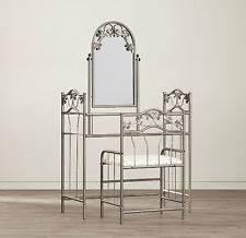 Glass Vanity Table With Mirror Classic Vanity Makeup Set Metal Glass Table Mirror Stool Shelf