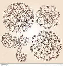 henna tattoo flower mandala doodle vector designs illustration