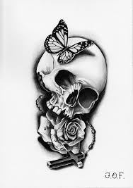 grayscale butterfly skull cross 05 2015 my flash
