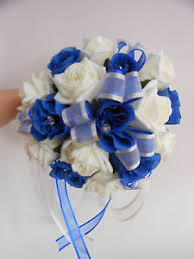 wedding flowers royal blue bridesmaids wedding bouquet royal blue and ivory foam roses with