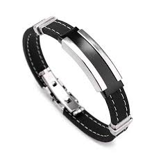 black man bracelet images Men silver stainless steel bangle bracelet black rubber us 10 43 JPG