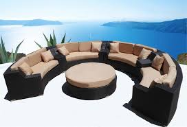 MODERN SAVANNAH ROUND WICKER SECTIONAL SOFA OUTDOOR PATIO - Outdoor furniture sectional