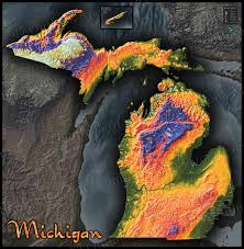 Map Of Lower Michigan by Topographic Map Of Michigan Physical Terrain In Bold Colors
