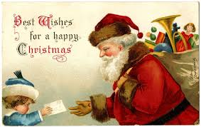 antique image santa gets letter from child the graphics