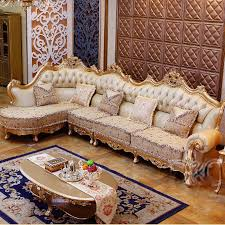 wooden corner sofa set luxury chagne leather corner sofa wood carving upscale living